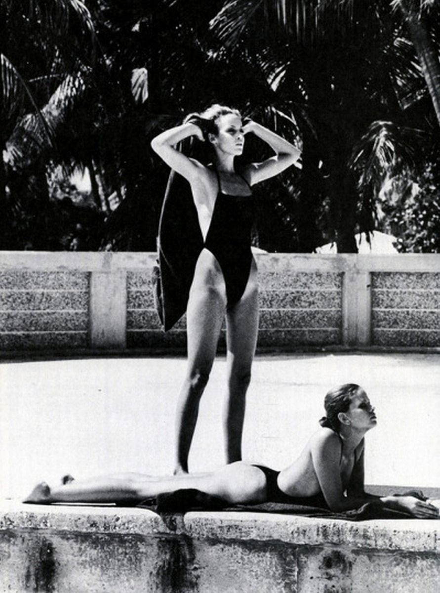 'Beauty Now: Exercise Out', Miami, Florida, US Vogue, January 1975 Jerry Hall and Lisa Taylor photographed by Helmut Newton